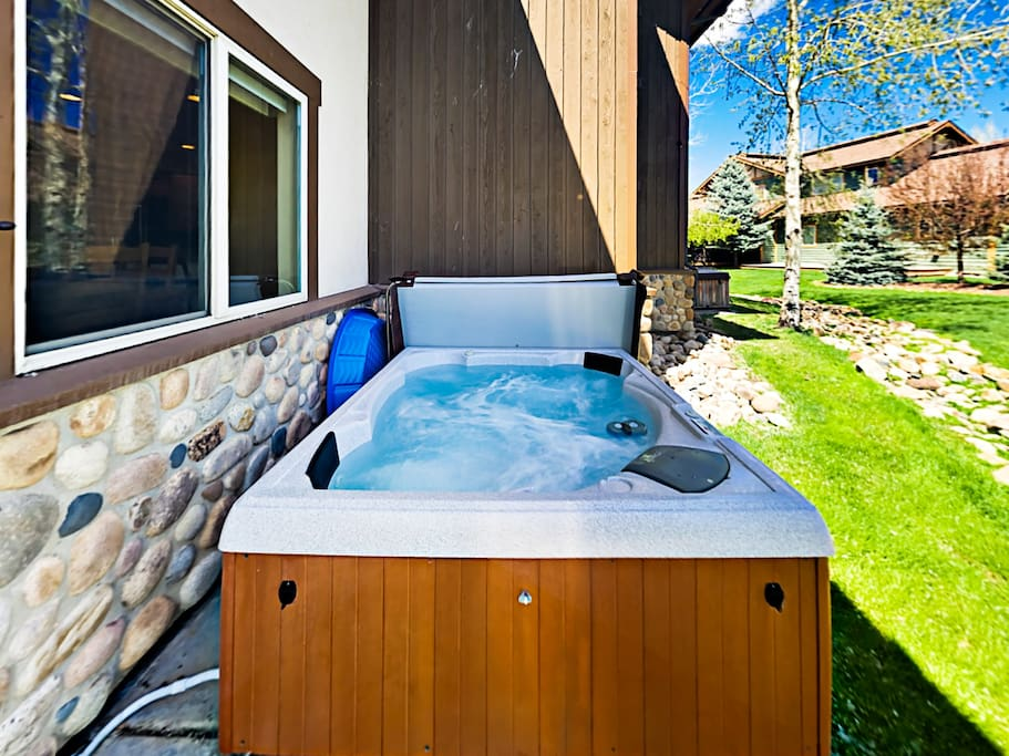 Soak in the hot tub after a fun day exploring the mountain.