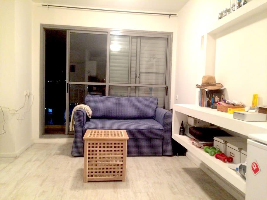 Раскладной диван-кровать может использоваться как дополнительное спальное место (ширина 125 см)