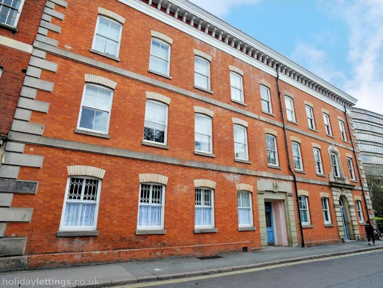 The front entrance to the Grade II listed Cotton Mill in the heart of historic Leicester.