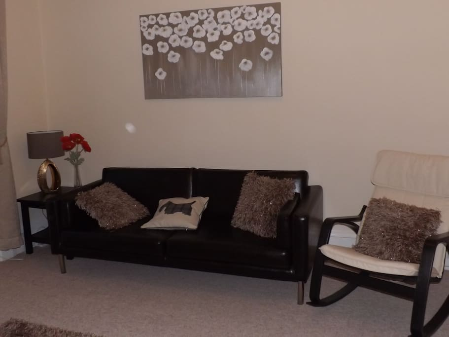 Living room with new leather sofa and chair