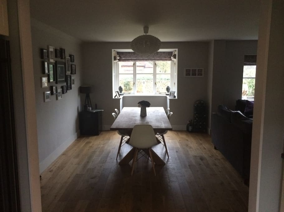 Open plan living dining, sociable space.