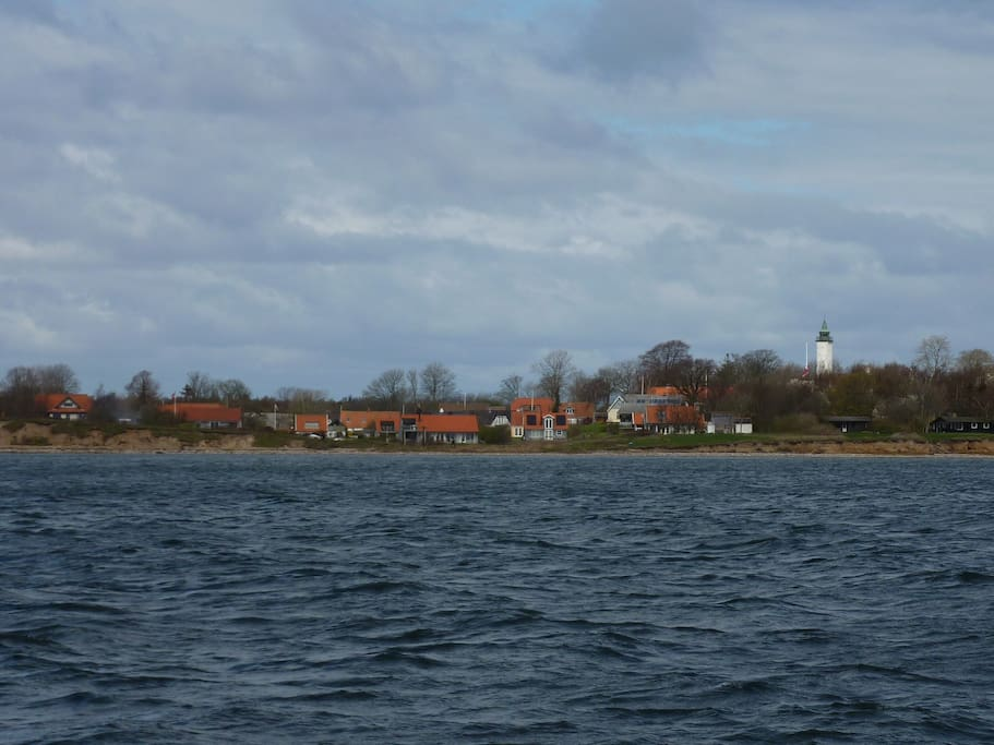 Tunø and our house seen from the ferry