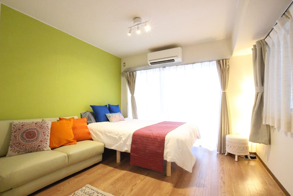 Comfortable bed room with nice interiors and sunlight!