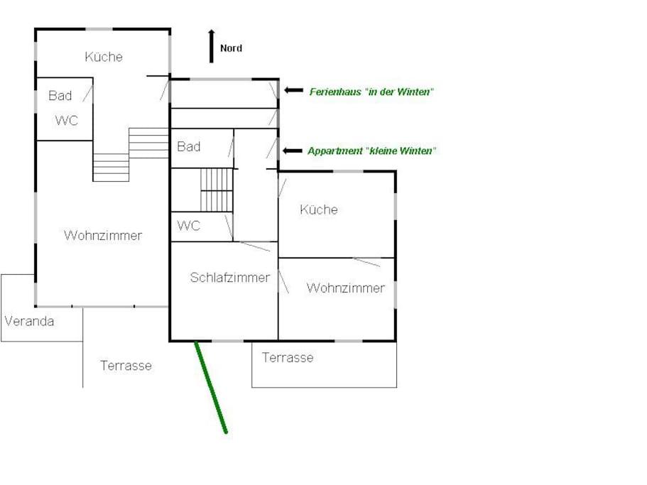 Grundriss Erdgeschoss - rechts die kleine Winten
