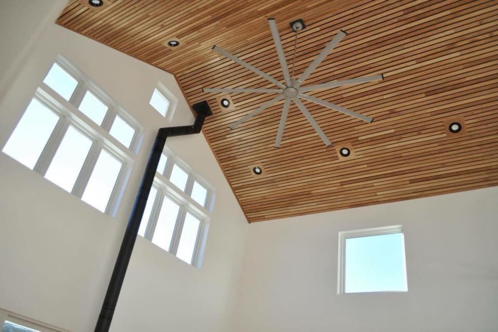 Giant fan and modern ceiling.