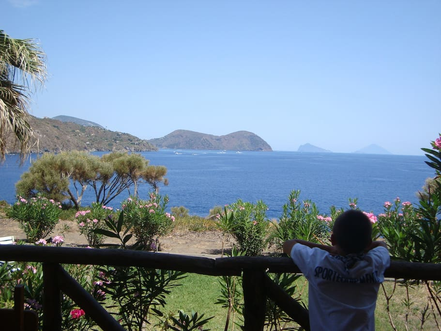 View from terrace:  Lipari, Panarea and Stromboli