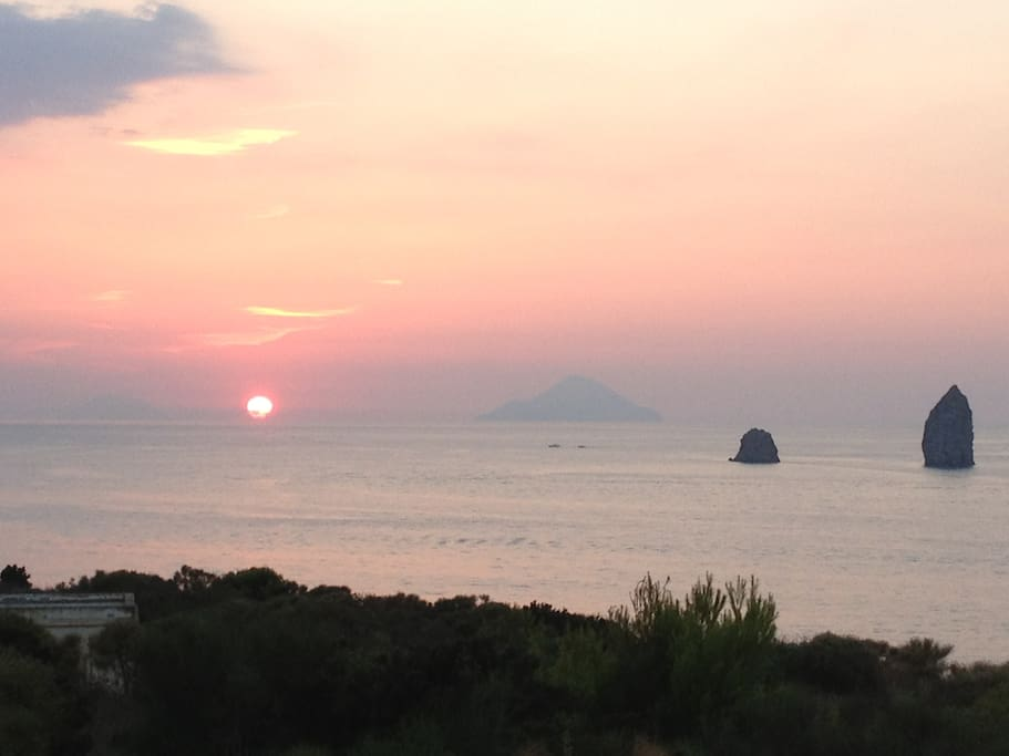 Sunset on Faraglioni di Lipari, Alicudi and Filicudi - view from the residence
