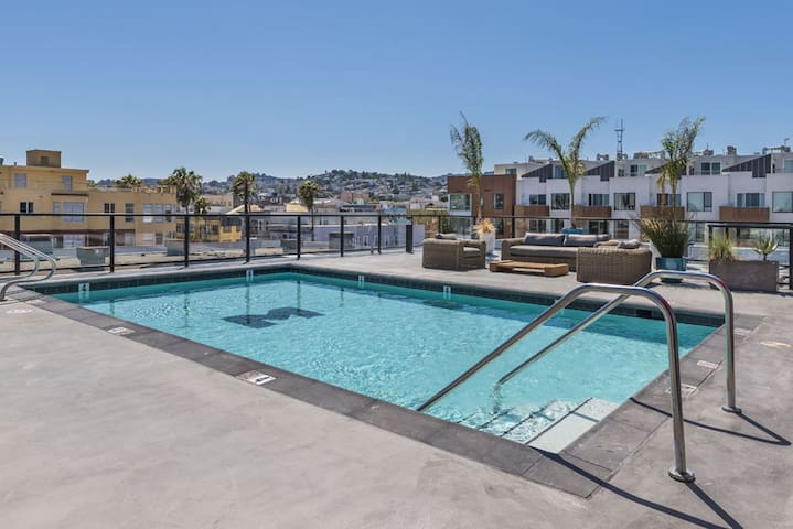 Rooftop pool & hang out areas