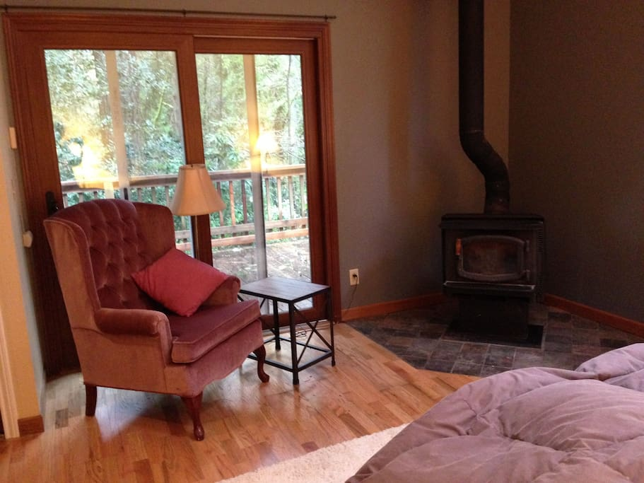 Sitting area with woodstove