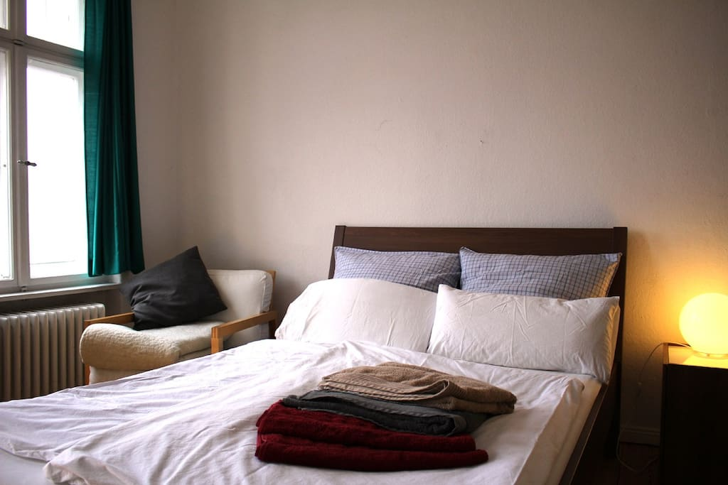 Your bed comes with fresh towels and beddings.