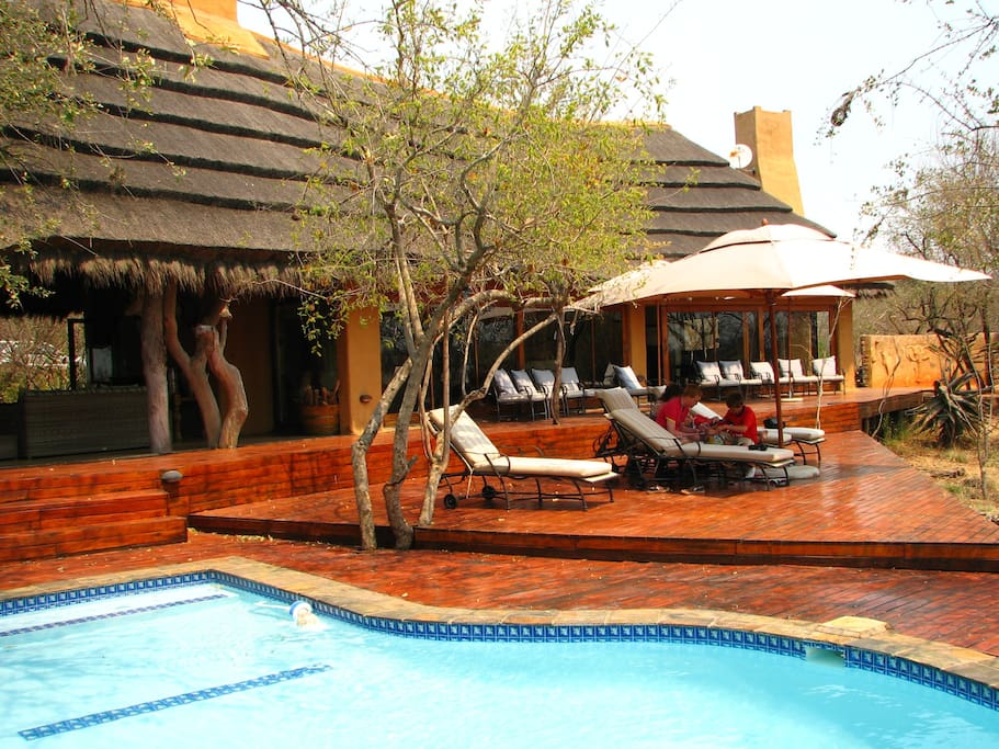 Main Lodge deck and swimming pool - great to relax and watch animals arriving at the waterhole