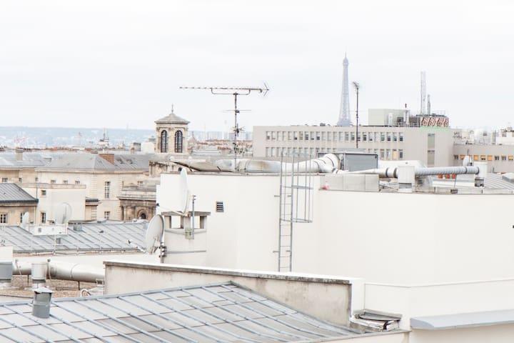 vue sur les toits de Paris (tour eiffel au loin)