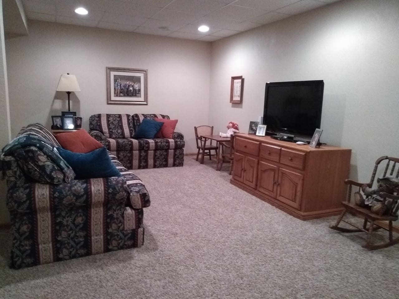 Family room with pull out couch