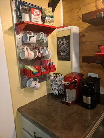 FREE coffee.  Guests may utilize the Keurig or the small drip coffee maker.