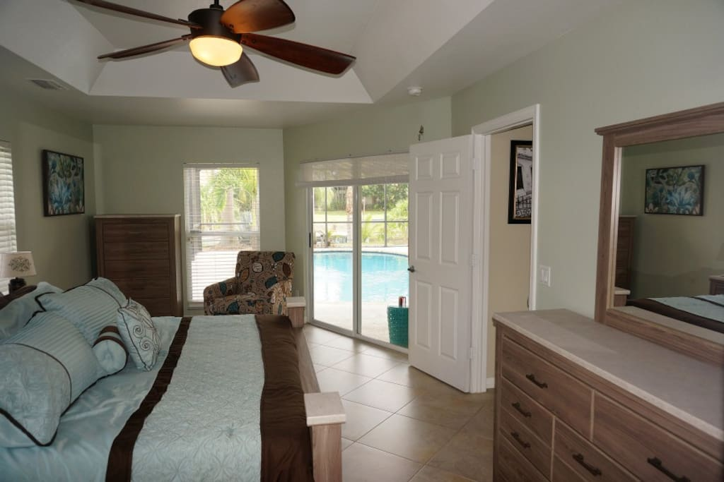 Master Suite with TV and Ceiling Fan