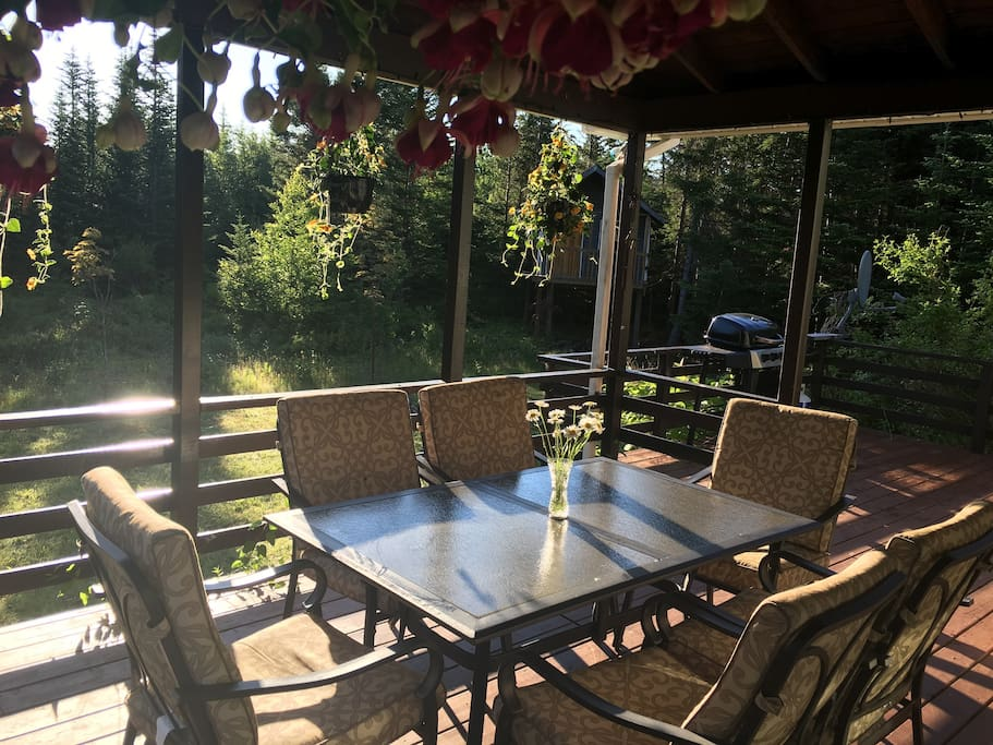 The patio is completely private.  Perfect for drinking coffee and watching the birds in the morning or enjoying drinks and a BBQ at the end of the day.