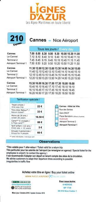 Trajet :  CANNES - Aéroport NICE Horaires de bus 210 et tarifs