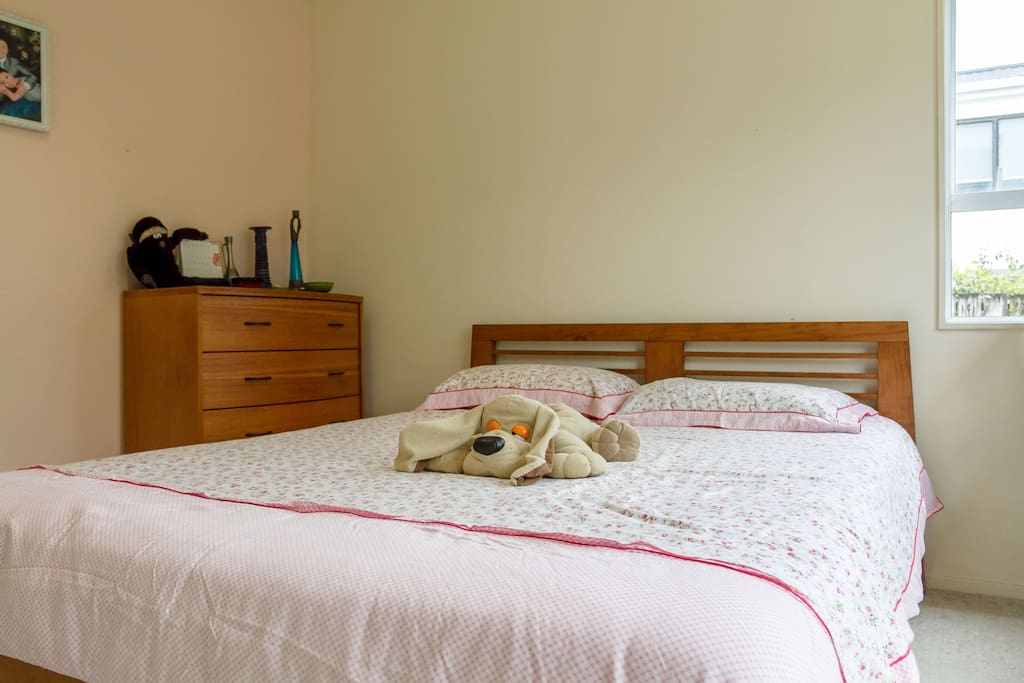 Queensize Bed and 5 drawer tallboy