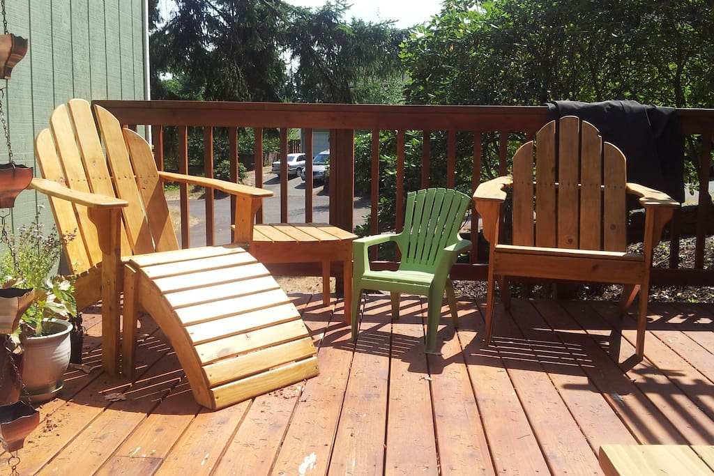A quiet corner of the deck, next to our herbs and strawberry plants.