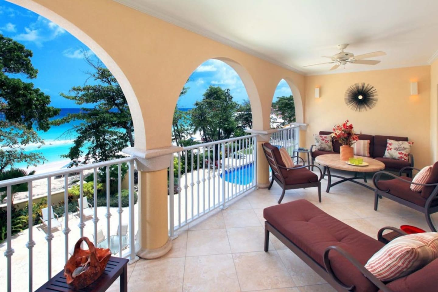 200 sq ft covered terrace overlooks the beach and 2 lagoon-style swimming pools.  ALL RENTAL RATES ARE SUBJECT TO THE BARBADOS GOVERNMENT'S 10% SHARED ECONOMY LEVY.