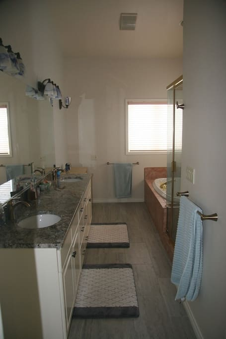 granite counters, jetted tub, separate toilet closet.