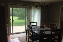 Sliding glass door out to the back deck.