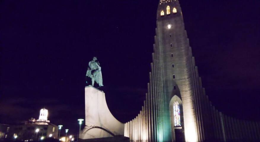 Steps away from the landmark Church