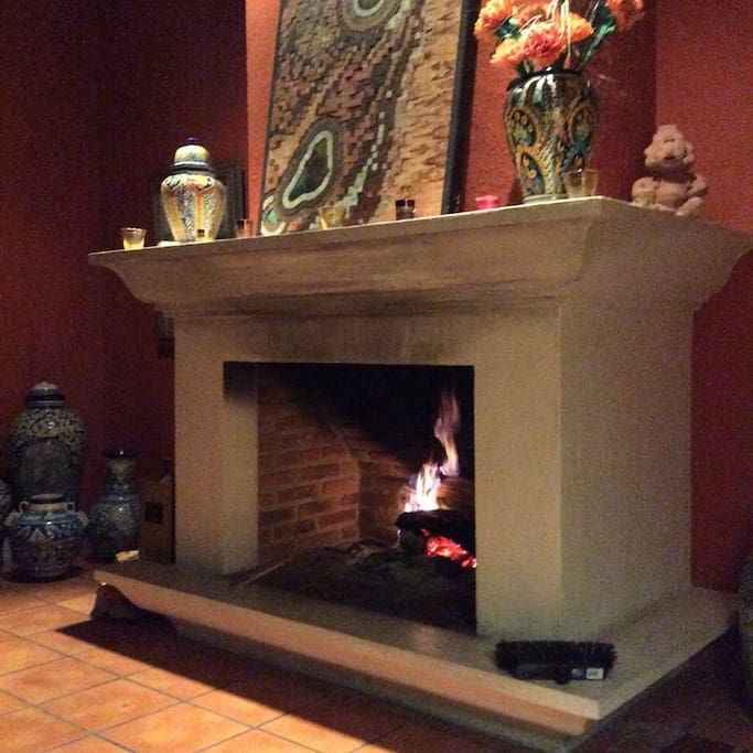 living room fireplace, wood burning.  Remember to open the flue pro favor!