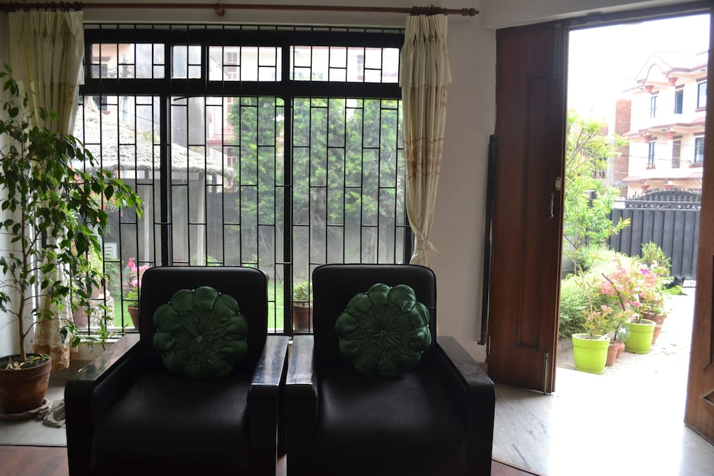 Living Room with a garden view