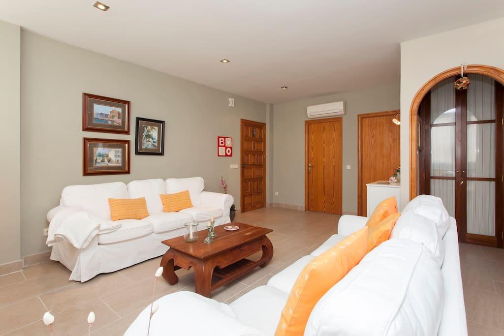 Dos cómodos sofás de tres plazas