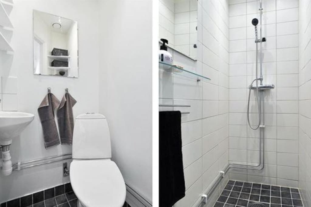 WC and shower, with spotlights (w dimmers). Floor heating in the shower.