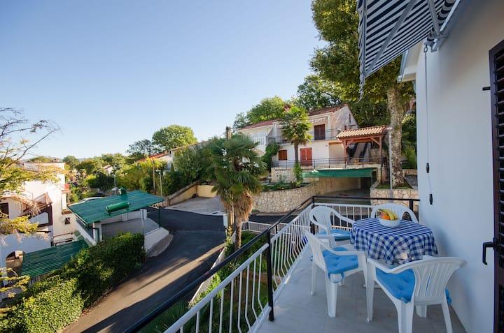 Two Bedroom Apartment, seaside in Njivice - island Krk, Balcony