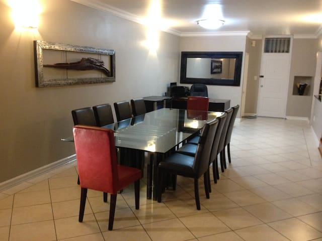 Open dining room area, leading onto patio area