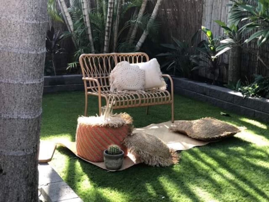 Private backyard with flexible seating