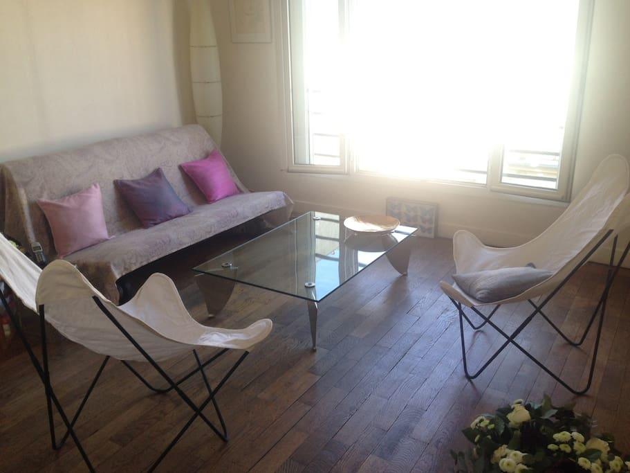 Vue du salon, canapé lit 2 personnes 160 cm