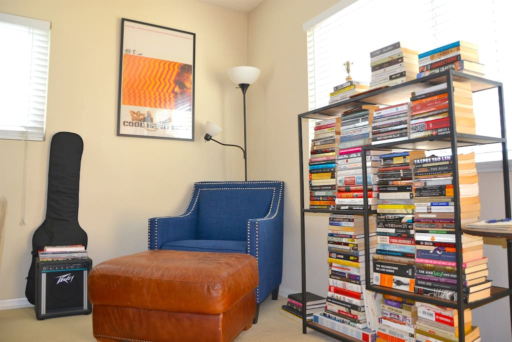 Curl up with a book in this homey reading nook.