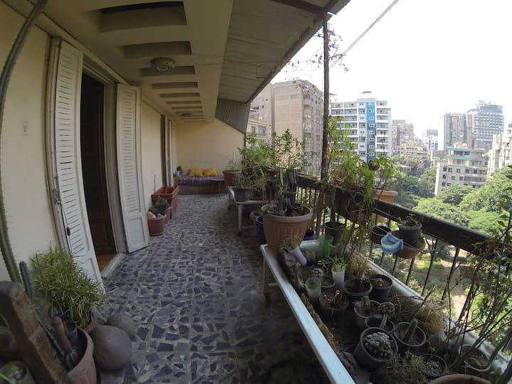 Green oasis in Cairo. Vintage Room with a terrace