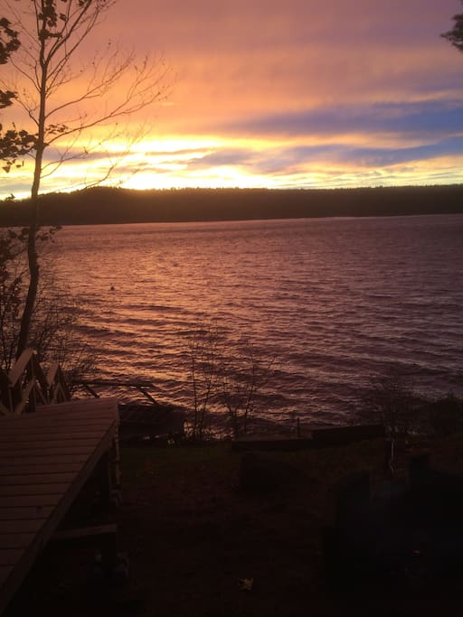 sunset across the bay from front lawn