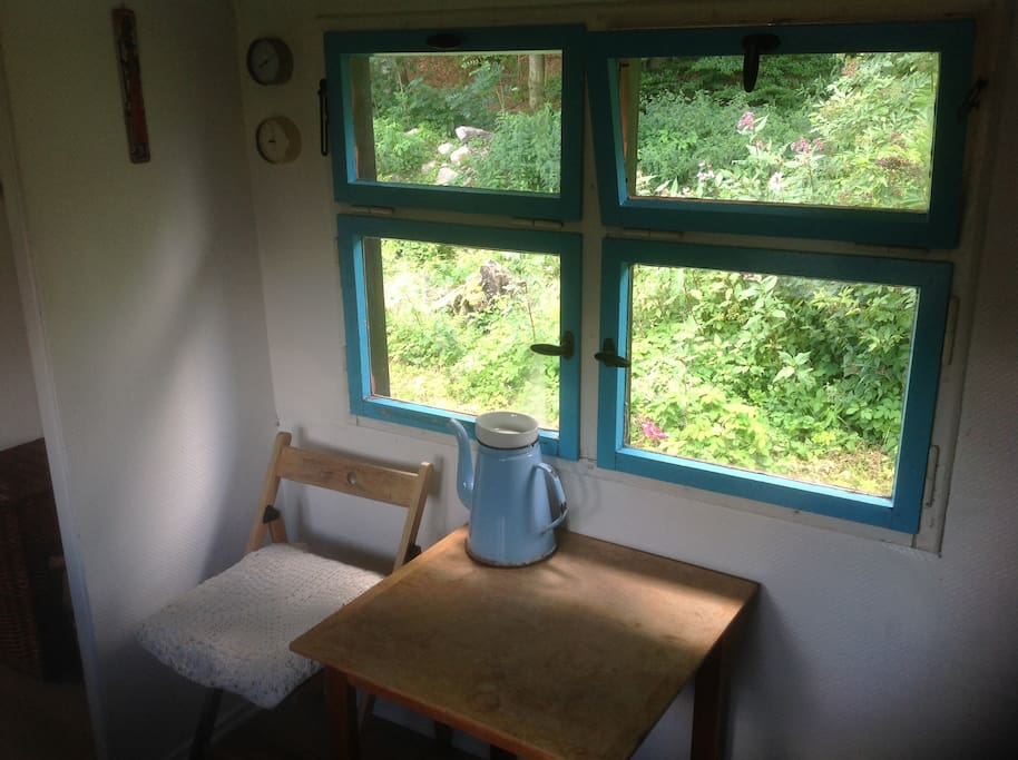 Enjoy a cup of coffee in the foresthouse