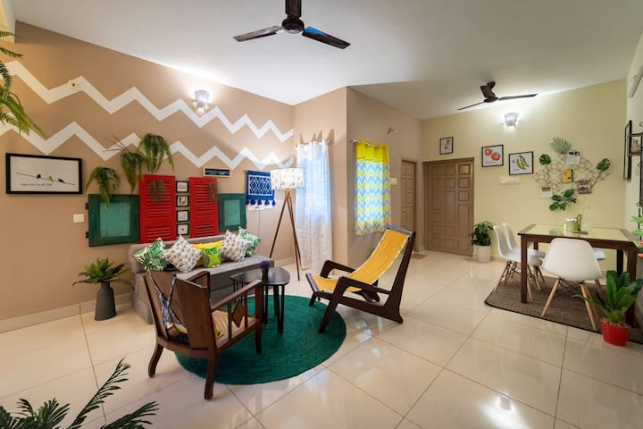 101 Cozy 1BHK near Auro Beach. Stay-Farm-Breakfast