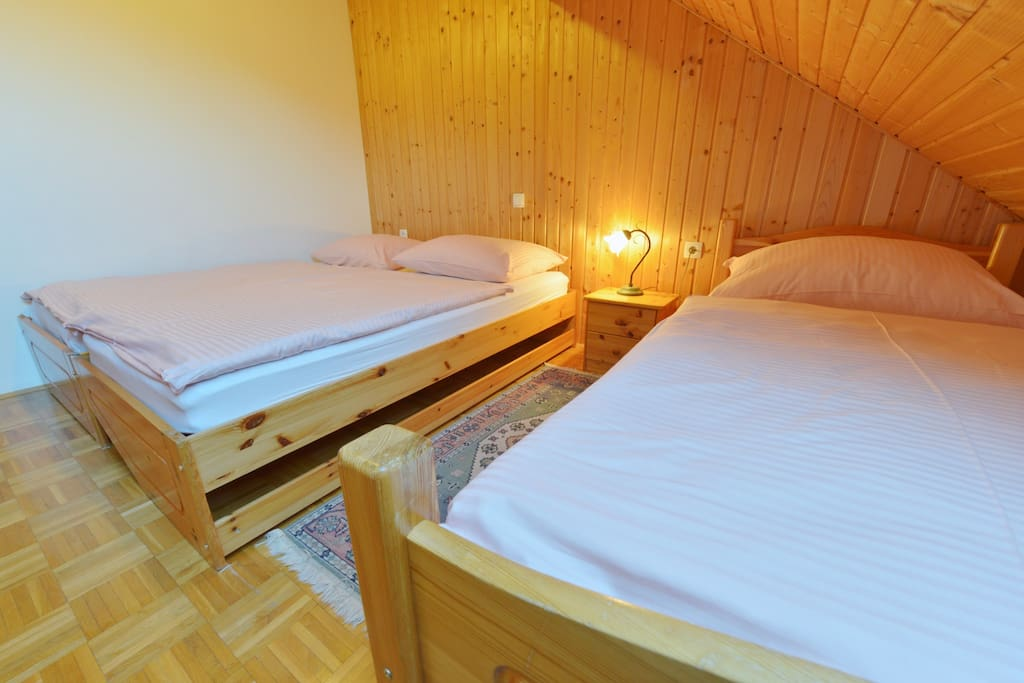 Apartment for 5 person no.1.                     Bedroom with one double bed and one single
