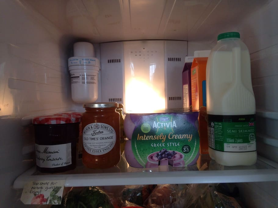 Please help yourselves to jams, marmalades and condiments. Milk and yoghurts are included in the breakfast.