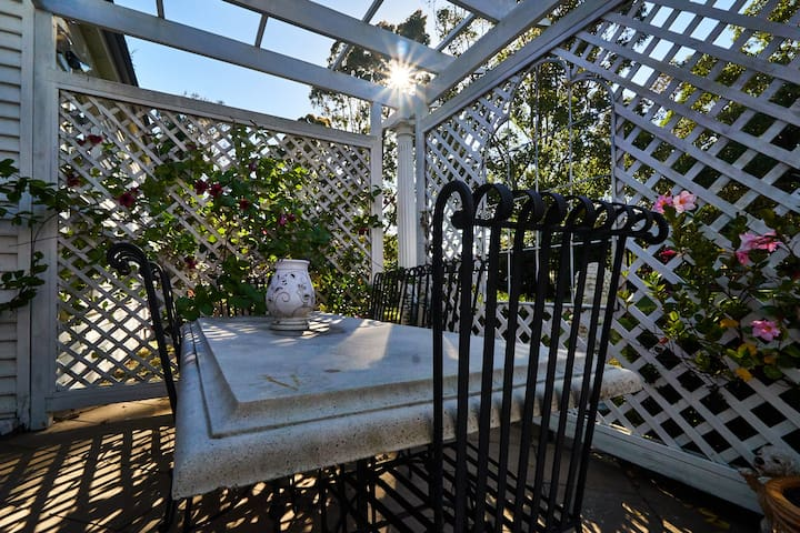 Enjoy our courtyard table setting with a cup of tea, coffee or a glass of wine and take in the views of the garden