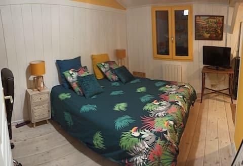 Bedroom, bathroom and toilet, in house,garden.