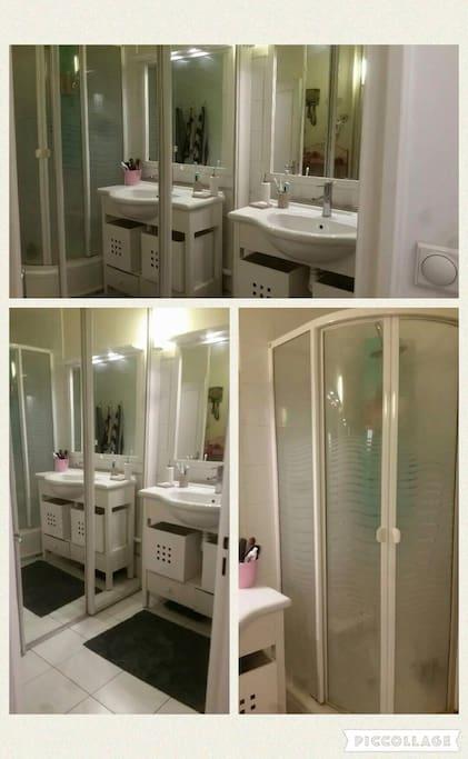 Salle de bain avec douche à l'italienne . WC séparés