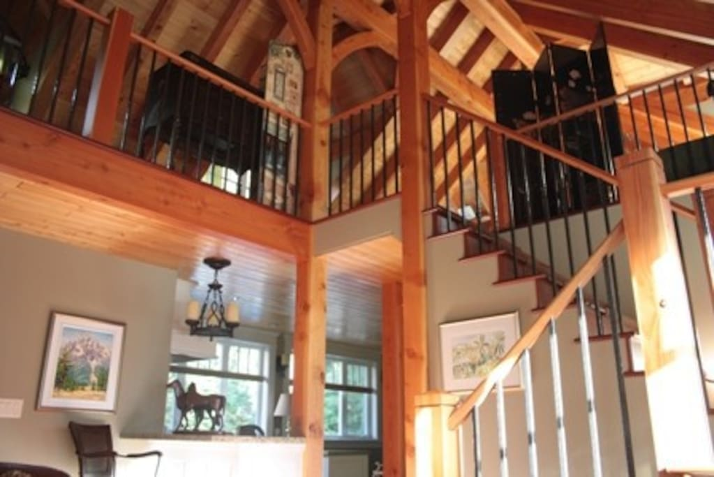 Post and beam architecture. Inviting, open space with fine furnishings.