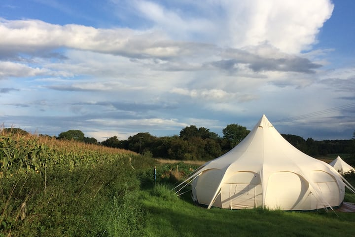 Cotswolds glamping Bell tent, near Cirencester