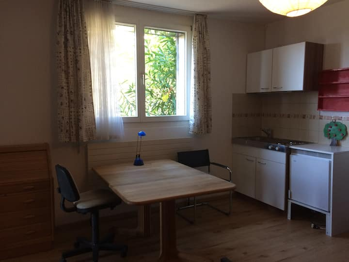 one room with small kitchen, outdoor pool