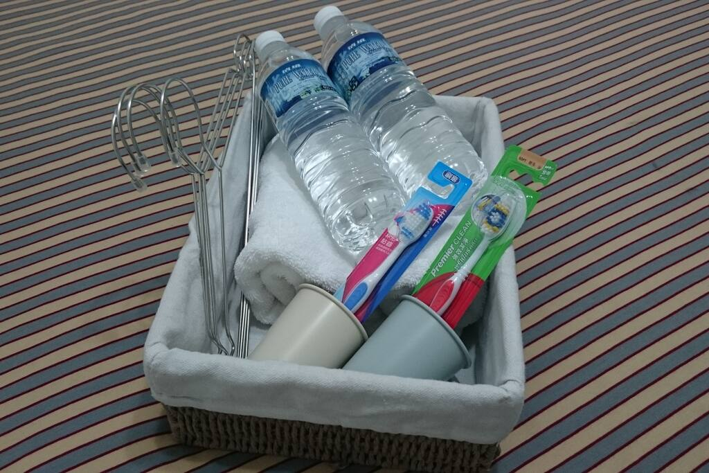 WELCOME BASKET: complimentary bottled water & toothbrush and bath towels for use