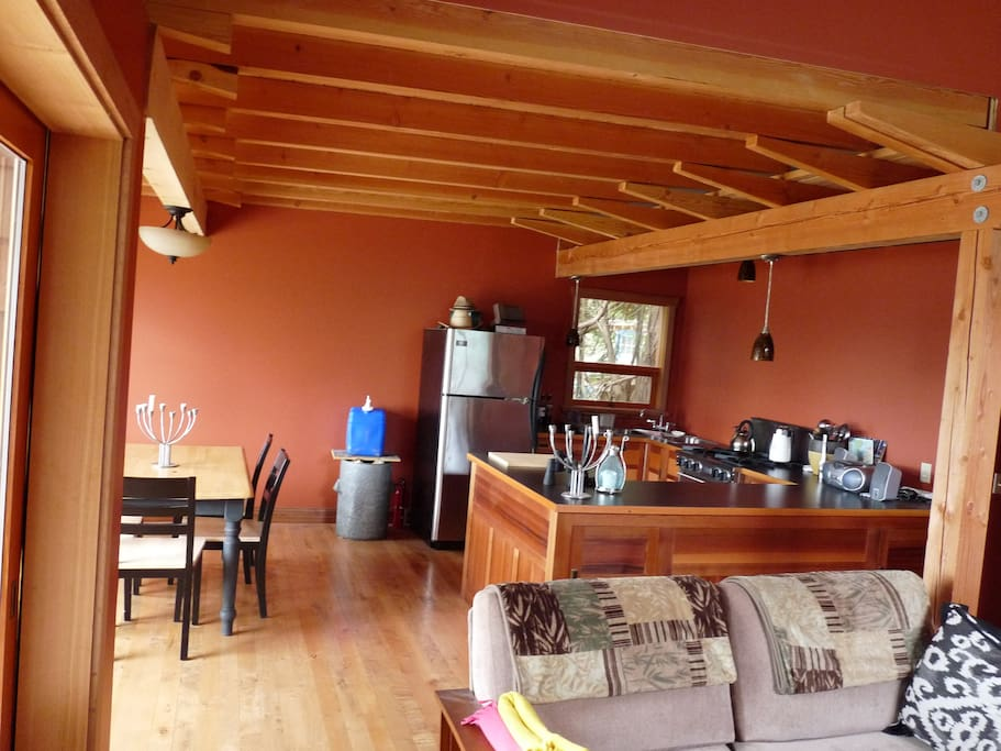 Roomy kitchen with dining area to the left. Great views from these rooms.